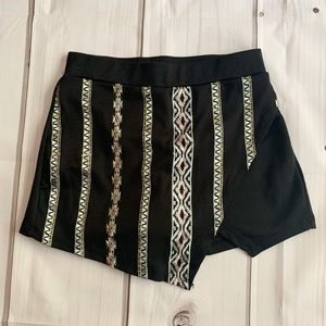 About a Girl black skort with Aztec print detail